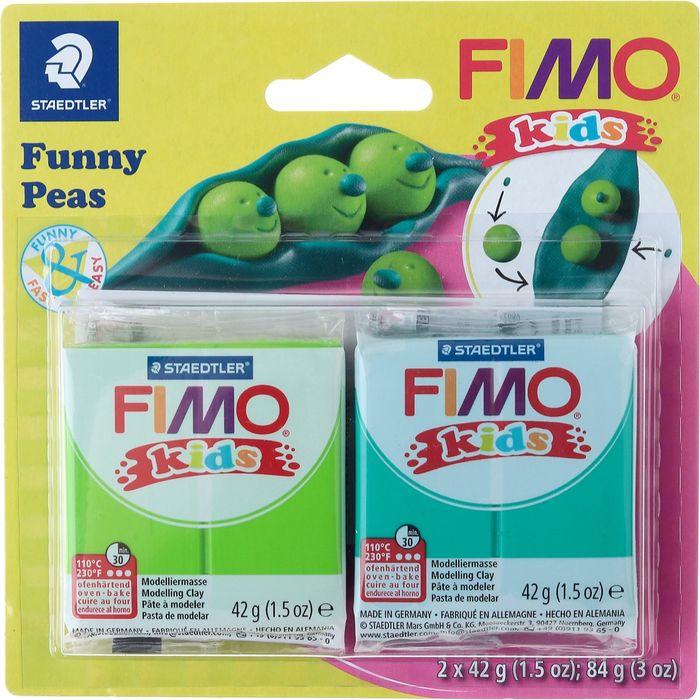 Глина полимерная Fimo Kids Kit Веселый горох, 8035 15, 2 цвета