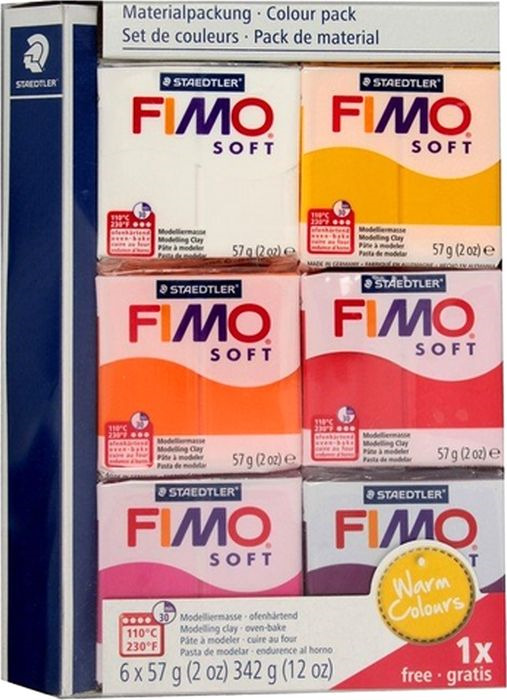 Глина полимерная Fimo Soft Теплые цвета, 8023 23, 6 цветов bxg pdc 8020