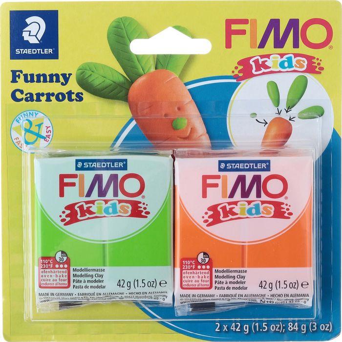 Глина полимерная Fimo Kids Kit Веселые морковки, 8035 14, 2 цвета