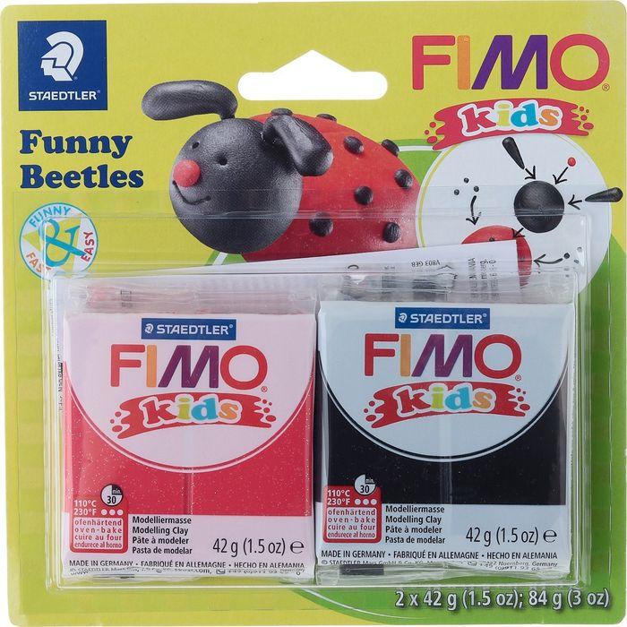 Глина полимерная Fimo Kids Kit Веселые жуки, 8035 12, 2 цвета fimo kids form