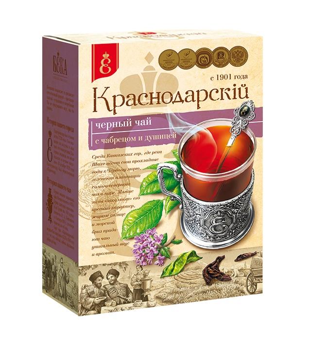 Чай черный с чабрецом и душицей, листовой, Краснодарский чай ВЕКА, (100 гр.) ягодки листочки чай краснодарский черный с чабрецом дворцовая площадь вес нетто 45гр