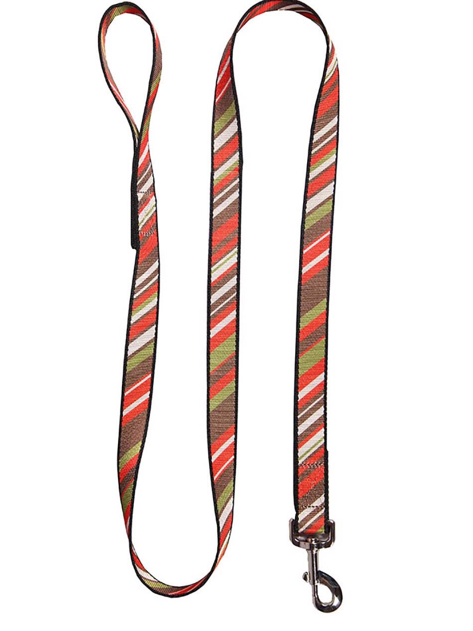 Поводок JOY 25мм х 1,5м стропа полоски наискосок для собак, красный, зеленый, черный