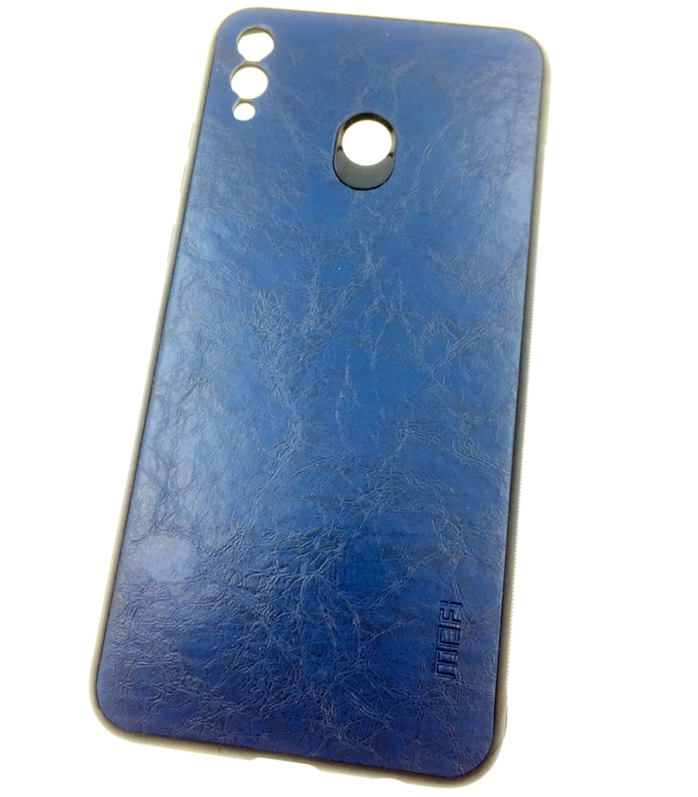 Чехол для сотового телефона Mofi Honor 8X Max Накладка силикновая с кожаной спинкой, синий