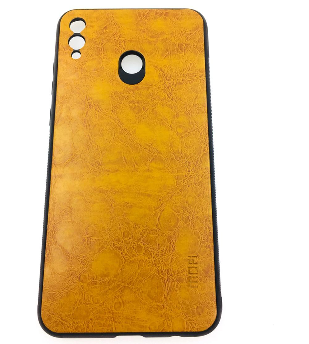 Чехол для сотового телефона Mofi Honor 8X Max Накладка силикновая с кожаной спинкой, бежевый