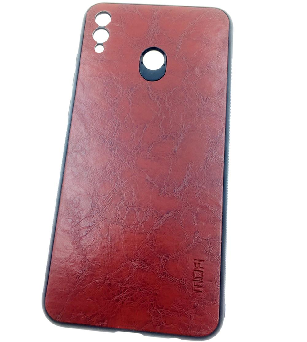 Чехол для сотового телефона Mofi Honor 8X Max Накладка силикновая с кожаной спинкой, коричневый