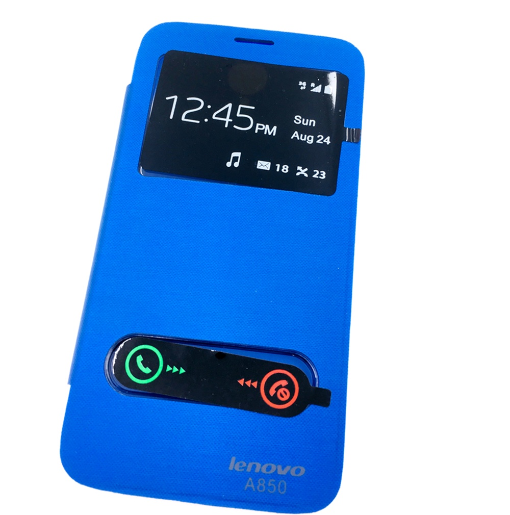 Чехол для сотового телефона Мобильная мода Lenovo A850 Чехол-книжка пластиковая с окнами для звонка, синий