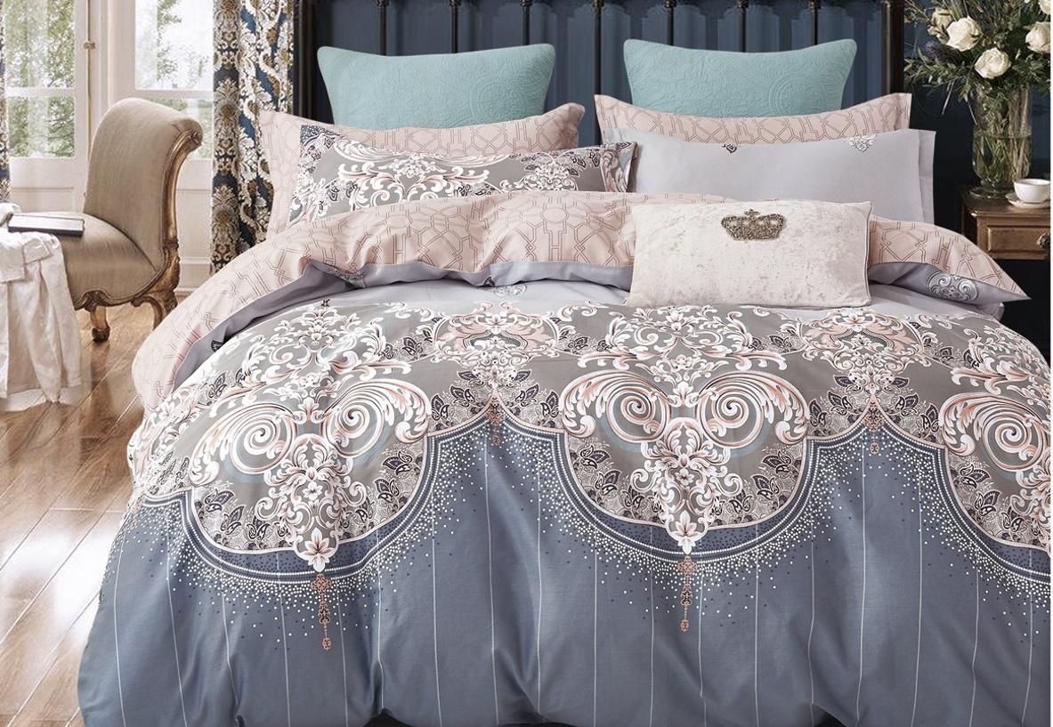 Комплект постельного белья BUTTERFLY Сатин (СК4) рис.333, 2-спальный с европростыней
