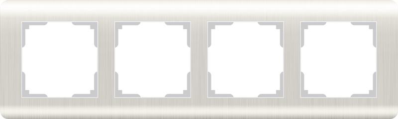 Рамка электроустановочная Werkel на 4 поста перламутровый WL12-Frame-04 светло-бежевый