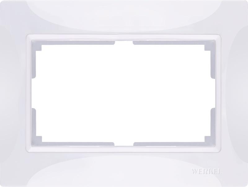 Рамка электроустановочная Werkel для двойной розетки (белый, basic) WL03-Frame-01-DBL-white, белый цена и фото