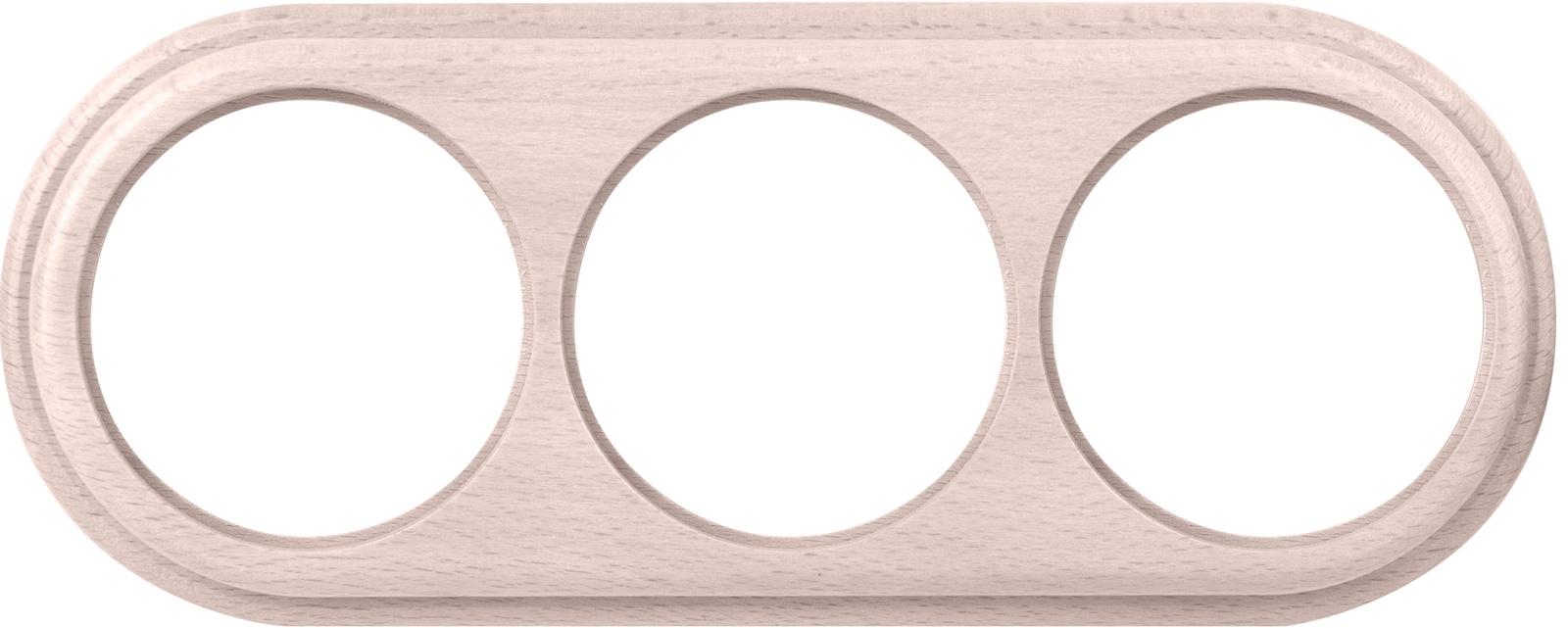 Рамка электроустановочная Werkel на 3 поста беленый дуб WL15-frame-03 светло-розовый