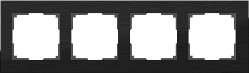 Рамка электроустановочная Werkel на 4 поста (черный алюминий) WL11-Frame-04, черный