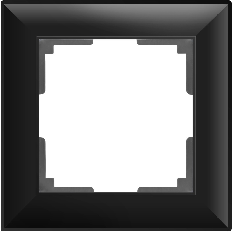 WL14-Frame-01/ Рамка на 1 пост (черный матовый) цена и фото