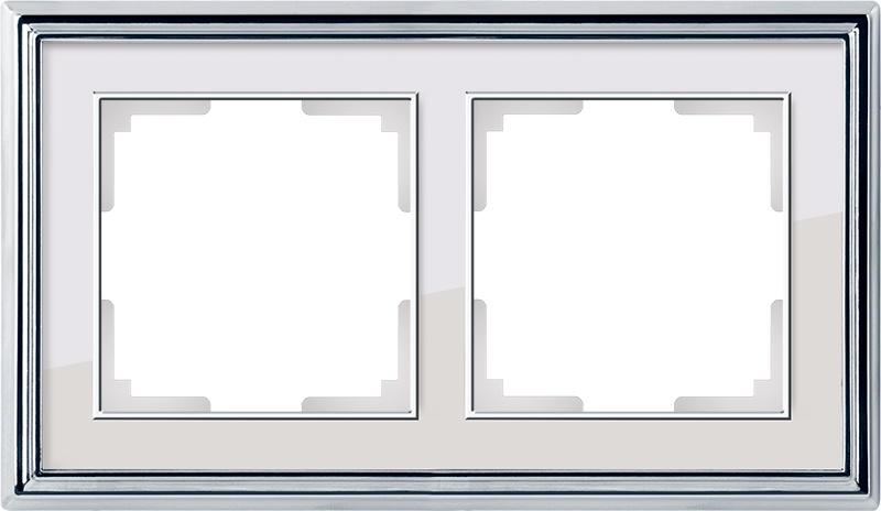 WL17-Frame-02/ Рамка на 2 поста (хром/белый) цена и фото