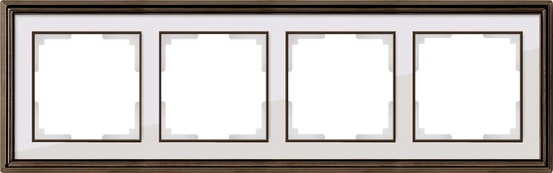 WL17-Frame-04/ Рамка на 4 поста (бронза/белый) цена и фото