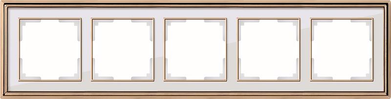 WL17-Frame-05/ Рамка на 5 постов (золото/белый) цена и фото
