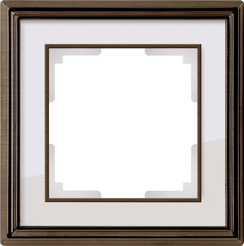 WL17-Frame-01/ Рамка на 1 пост (бронза/белый) цена и фото