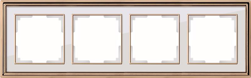 WL17-Frame-04/ Рамка на 4 поста (золото/белый) цена и фото