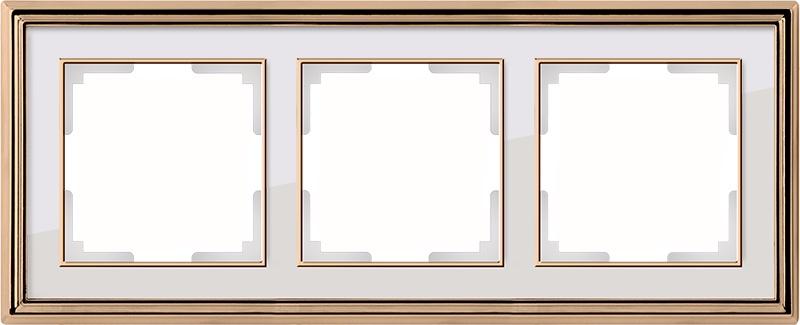 WL17-Frame-03/ Рамка на 3 поста (золото/белый) цена и фото