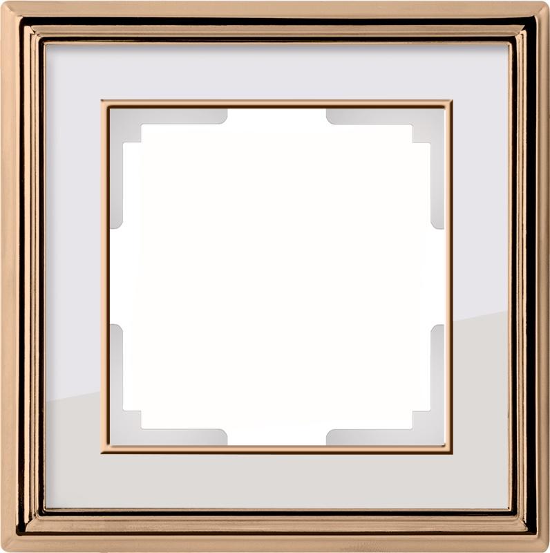 WL17-Frame-01/ Рамка на 1 пост (золото/белый) цена и фото