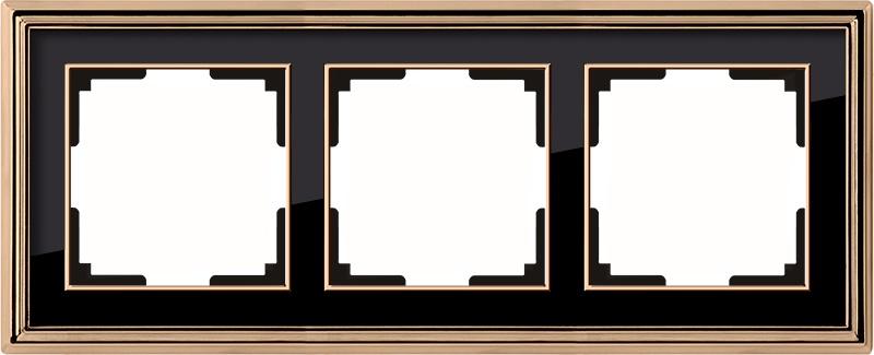 WL17-Frame-03/ Рамка на 3 поста (золото/черный) цена и фото