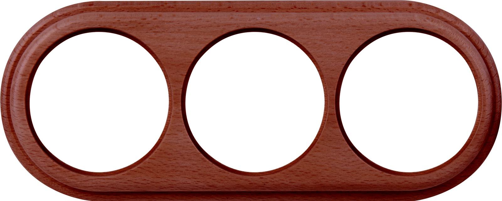 WL15-frame-03  Рамка на 3 поста итальянский орех