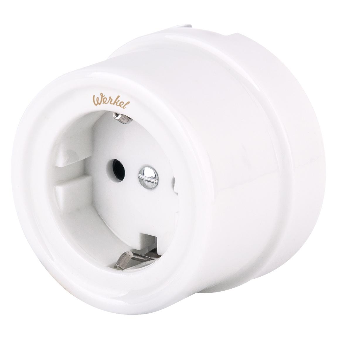 Розетка Werkel с заземлением (белый) Ретро WL18-03-01, белый ретро 2019 01 19t18 00