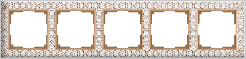 Рамка электроустановочная Werkel на 5 постов (белое золото) WL07-Frame-05