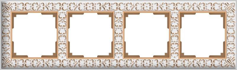 Рамка электроустановочная Werkel на 4 поста (белое золото) WL07-Frame-04