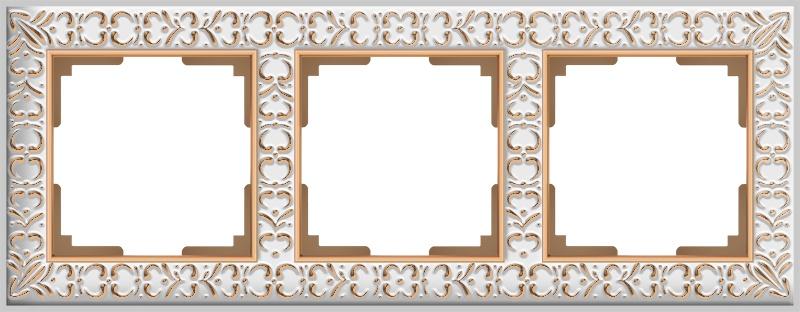 Рамка электроустановочная Werkel на 3 поста (белое золото) WL07-Frame-03