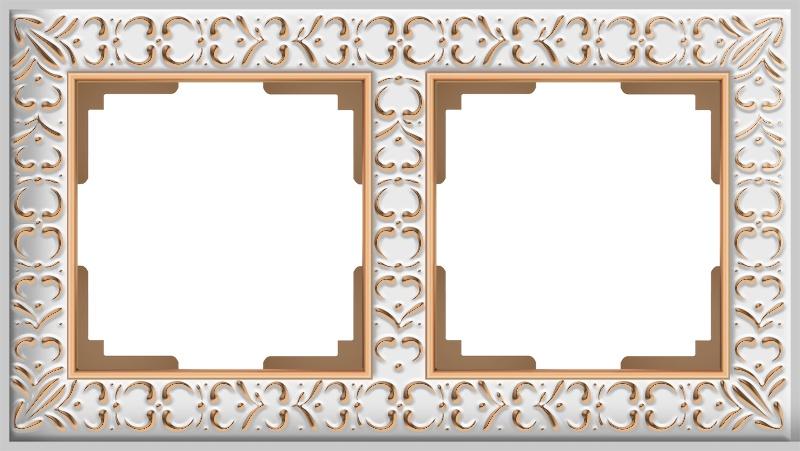 Рамка электроустановочная Werkel на 2 поста (белое золото) WL07-Frame-02