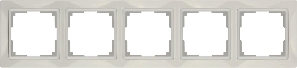 Рамка электроустановочная Werkel на 5 постов (слоновая кость, basic) WL03-Frame-05, слоновая кость цены