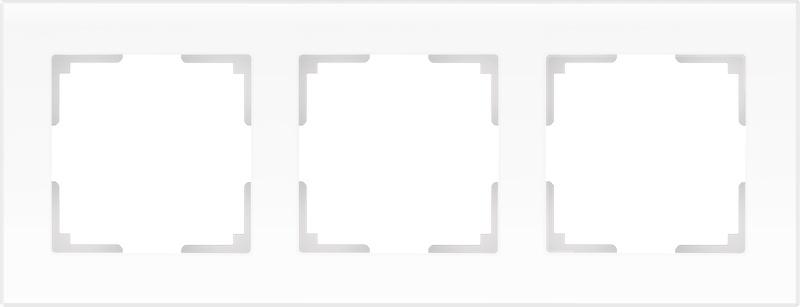 Рамка электроустановочная Werkel на 3 поста (белый матовый) WL01-Frame-03, белый