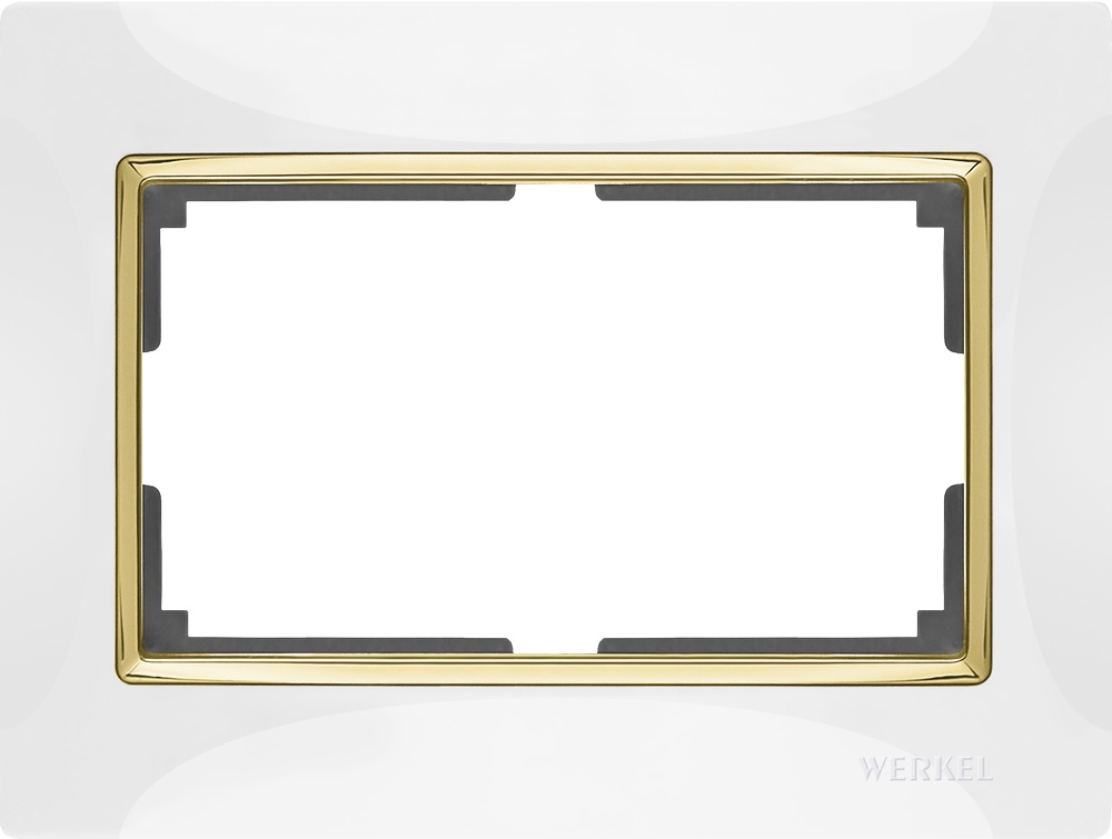 Рамка электроустановочная Werkel для двойной розетки (белый/золото) WL03-Frame-01-DBL-white-GD цена и фото