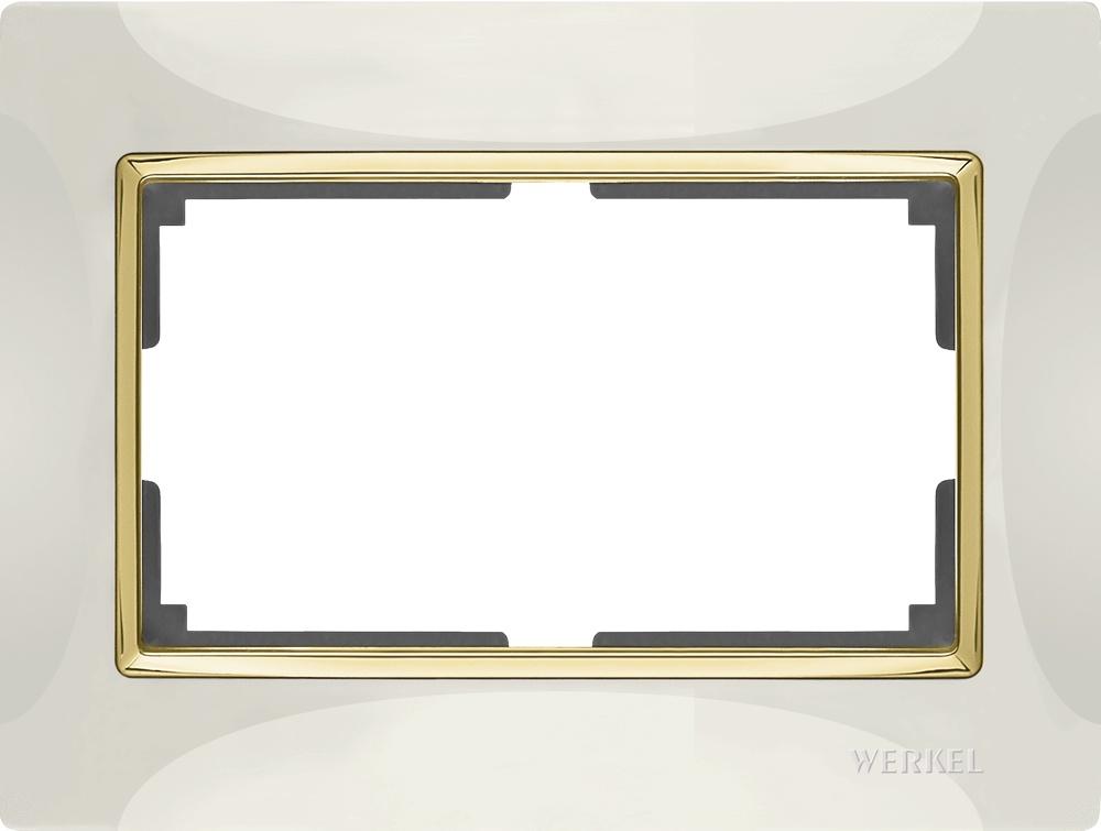 цена на Рамка электроустановочная Werkel для двойной розетки (слоновая кость/золото) WL03-Frame-01-DBL-ivory-GD