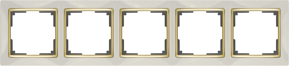 WL03-Frame-05-ivory-GD/ Рамка на 5 постов (слоновая кость/золото) цены