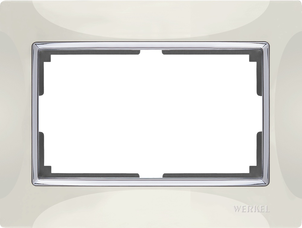 Рамка электроустановочная Werkel для двойной розетки (слоновая кость) WL03-Frame-01-DBL-ivory, слоновая кость