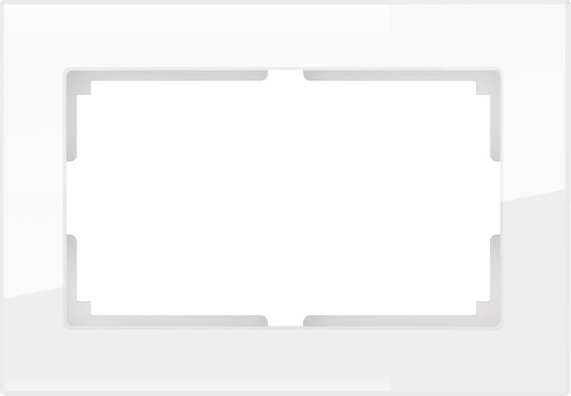 Рамка электроустановочная Werkel для двойной розетки (белый,стекло) WL01-Frame-01-DBL, белый цена и фото