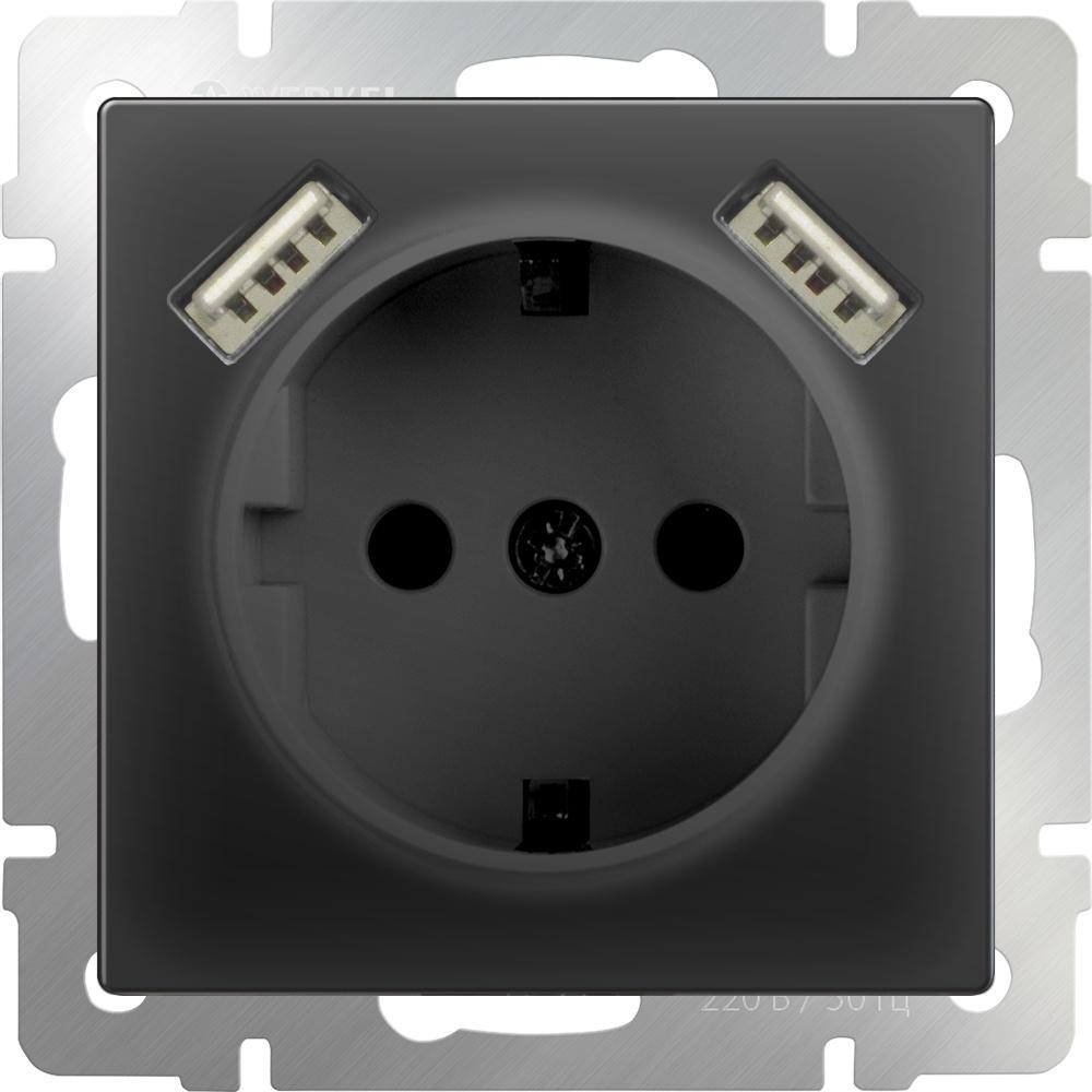 Розетка Werkel с заземлением, шторками и USBх2 (черный матовый) WL08-SKGS-USBx2-IP20, черный розетка с заземлением шторками и usbx2 werkel черный матовый wl08 skgs usbx2 ip20