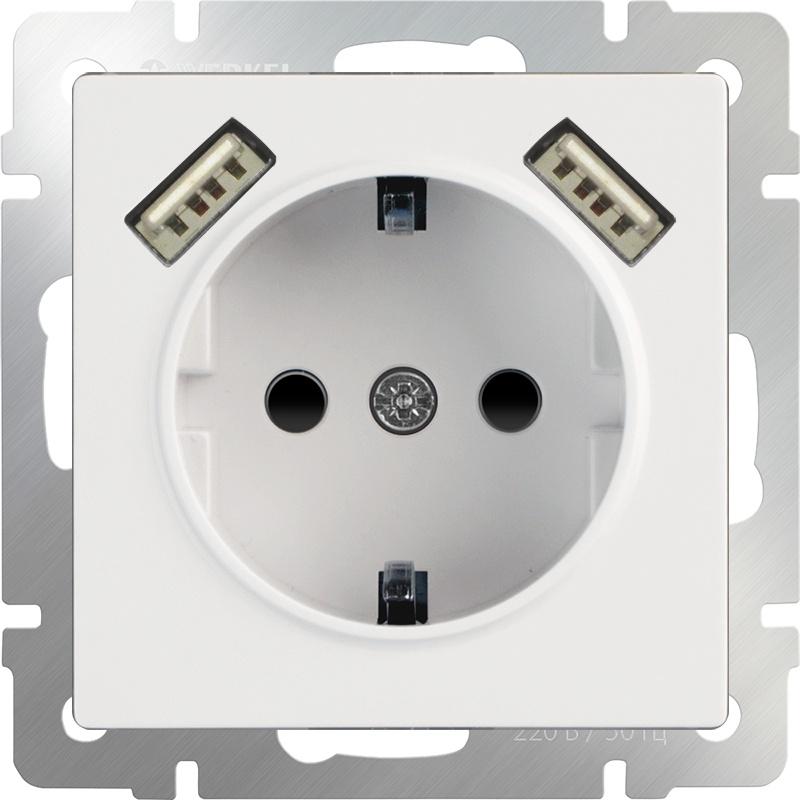 Розетка Werkel с заземлением, шторками и USBх2 (белая) WL01-SKGS-USBx2-IP20, белый розетка с заземлением werkel шторками и 2хusb без рамки белый wl01 skgs usbx2 ip20