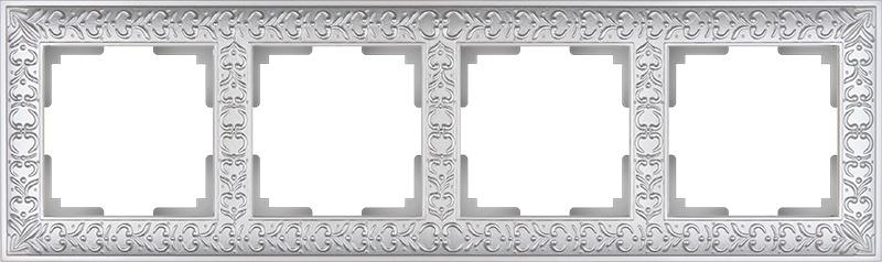 Рамка электроустановочная Werkel на 4 поста жемчужный WL07-Frame-04 светло-серый