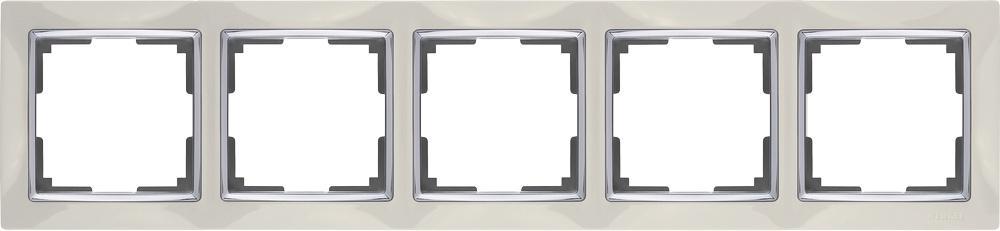 Рамка электроустановочная Werkel на 5 постов (слоновая кость) WL03-Frame-05-ivory, слоновая кость цены