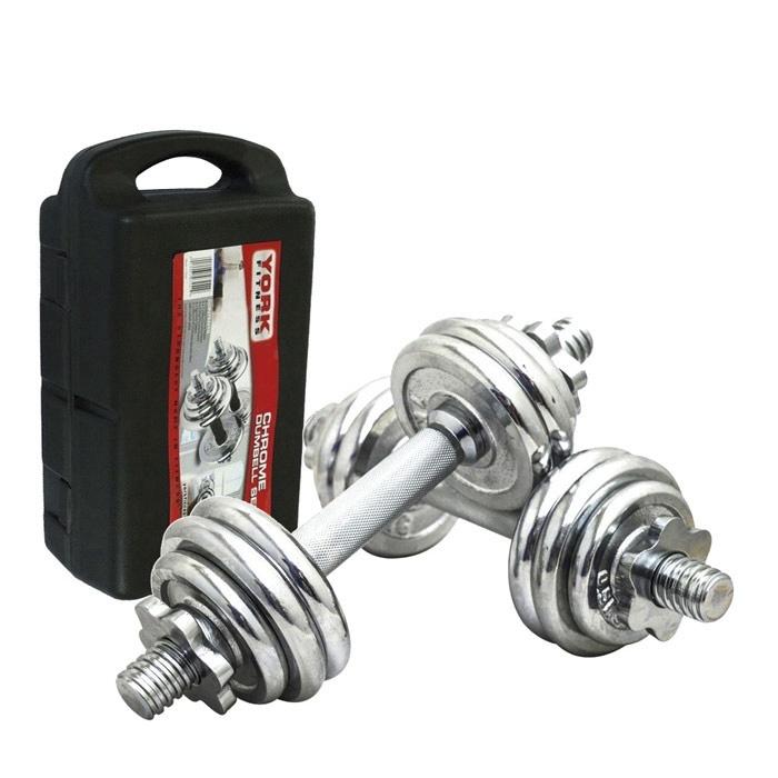 Гантели York B25617, серый рулетка kraftool kraft max 8м 27мм 34127 08 27