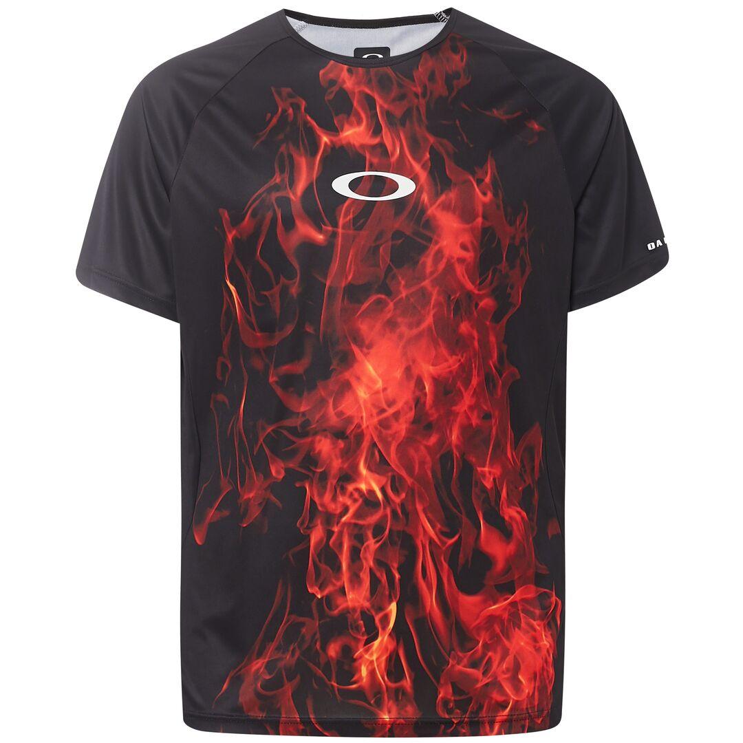 Веломайка мужская Oakley MTB SS Tech Tee, 457608-9A3_Flames, черный, красный, размер XL (52)