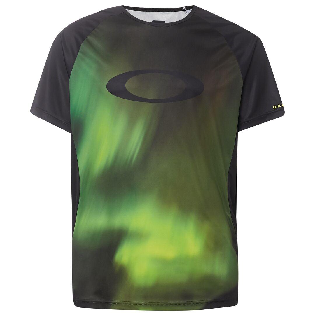 Веломайка мужская Oakley MTB SS Tech Tee, 457608-9A4_Aurora Borealis, черный, зеленый, размер L (50) oakley футболка oakley boardwalk view tee crimson