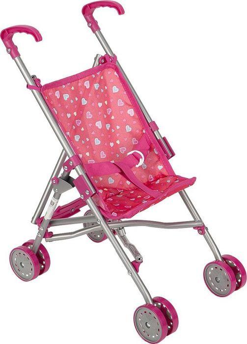 Коляска-трость для кукол Melobo Сердечки, S9307, розовый коляска для кукол пластмастер