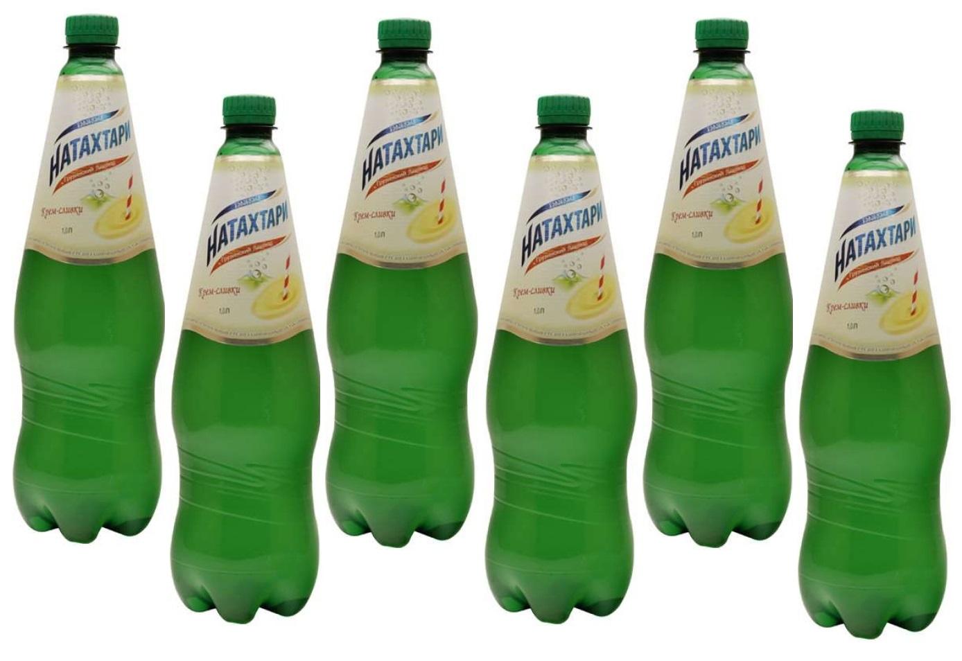 Газированный напиток Натахтари Крем-Сливки 1 литр, упаковка 6 штук