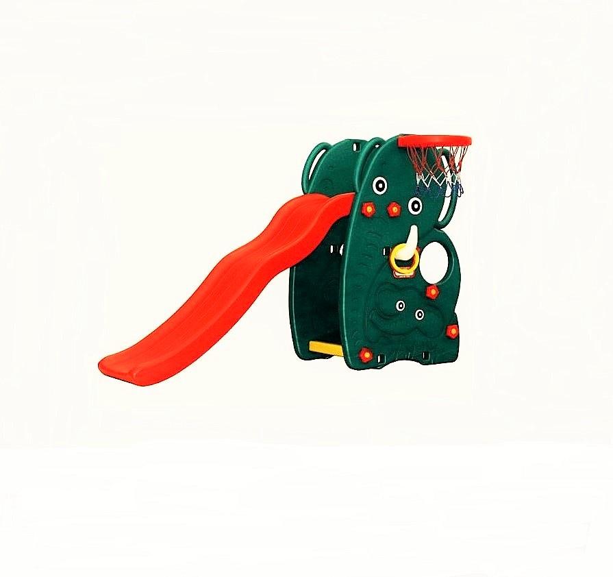 где купить Детская горка HAPPY BOX Слон темно-зеленый дешево