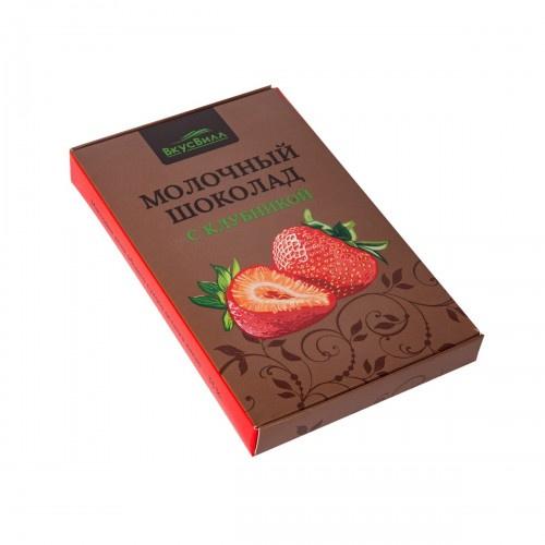 Шоколад молочный Вкусвилл с клубникой, 90 г chco лев с сердцем молочный детский шоколад 70 г