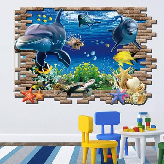 Украшение настенное интерьерное TopSeller 3D-наклейка на стену (океан) наклейка на стену space art