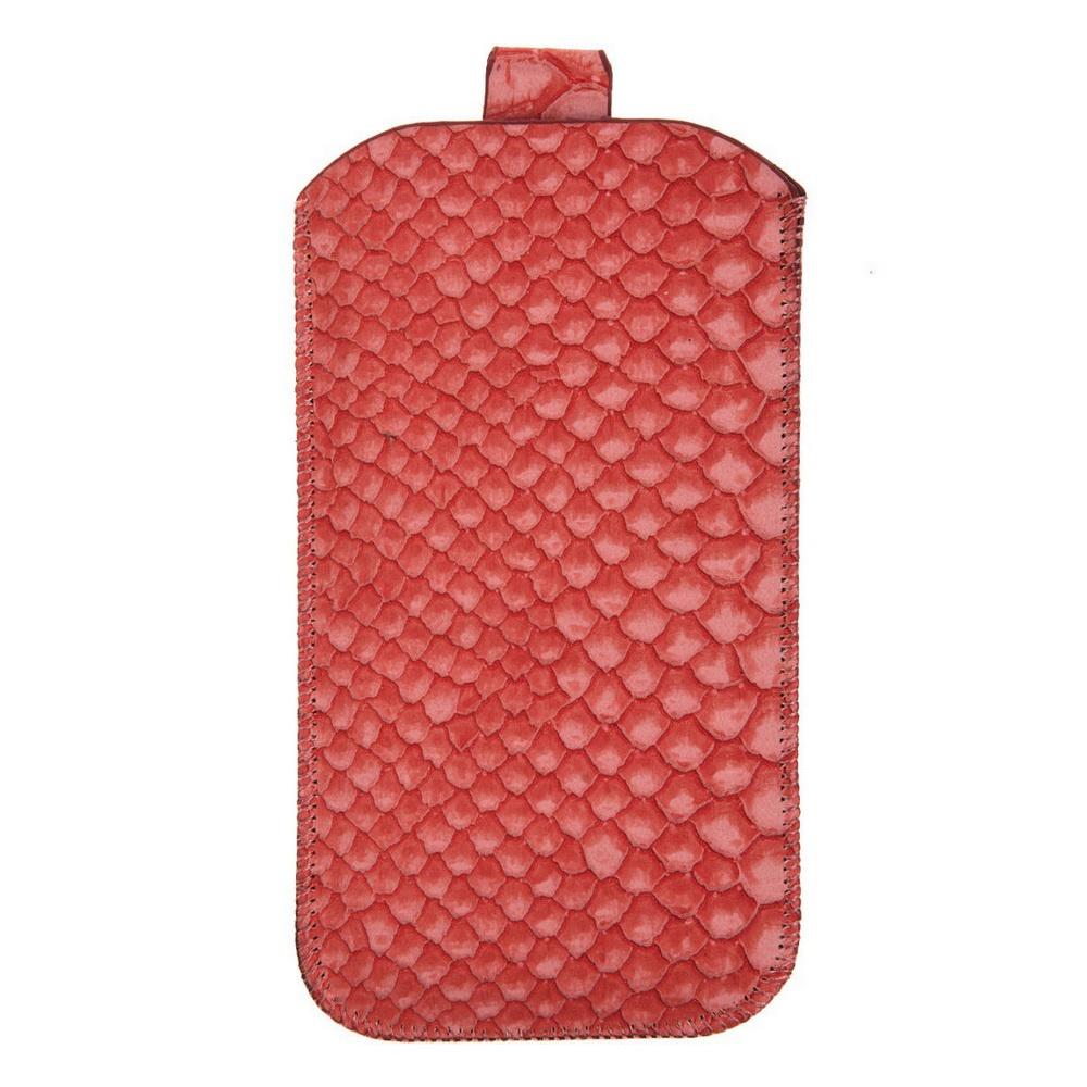 Чехол для сотового телефона IQ Format универсальный, 135*75, с выдвижной лентой, экокожа, коралловый